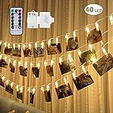 fourHeart LED Photo Clip cuerda luces - 40 clips de fotos 5M Batería Powered LED luces para decoración Foto colgante, notas, obras de arte (Blanco Cálido + Control Remoto)