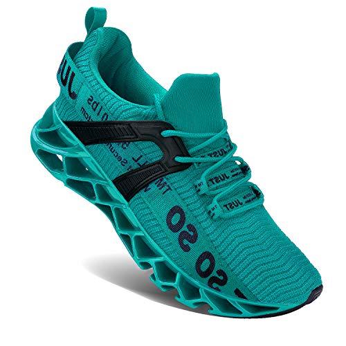 Wonesion Herren Fitness Laufschuhe Atmungsaktiv rutschfeste Mode Sneaker Sportschuhe,3 Lake Blau,42 EU