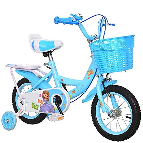 CKCL Bicicleta para Niños para Niños Niñas De 3 a 9 Años 12 14 16 18 Pulgadas Ruedas De Entrenamiento Soporte De Apoyo con Guardabarros para El Asiento Trasero Freno De Mano Y Canasta,Azul,12inches