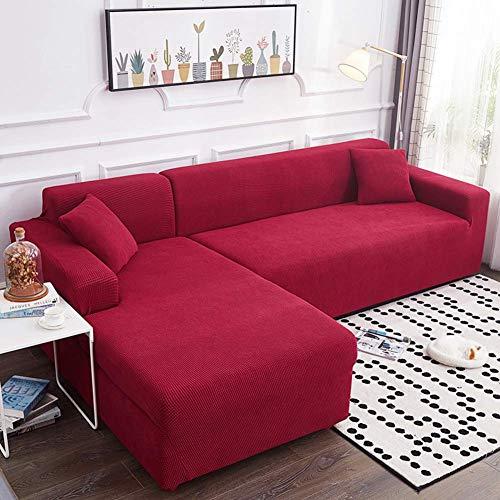 YLLN Funda de sofá elástica para Perros, 1 Pieza Funda de sofá Jacquard Funda Antideslizante Protector de sofá seccional Funda de sofá para Mascotas Rojo (Chaise 92-118in) + 92-118in