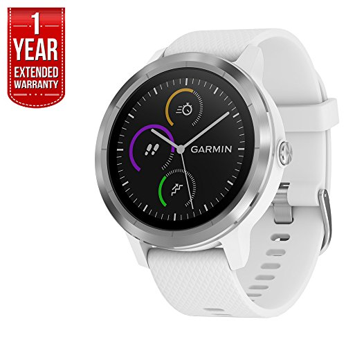 Garmin 010-01769-21 Vivoactive 3 GPS Fitness Smartwatch (White & Stainless) + 1 Year Extended Warranty