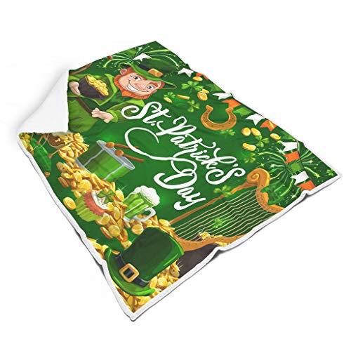 Dofeely St Patricks dagdeken, woon- en flanel microvezel knuffeldeken, zacht, vele kleuren, reuzedoek voor volwassenen en kinderen