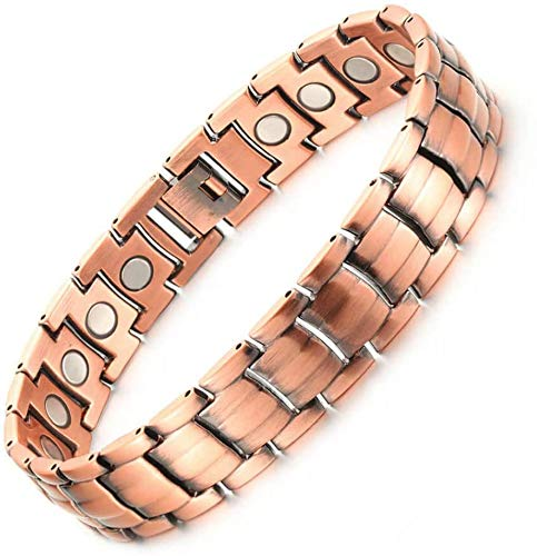 Mens Copper Bracelets Link Adjustable Pure Copper with Magnets Pain Relief for Arthritis and Carpal Tunnel Migraines Tennis Elbow (Type 1 All Magnets)