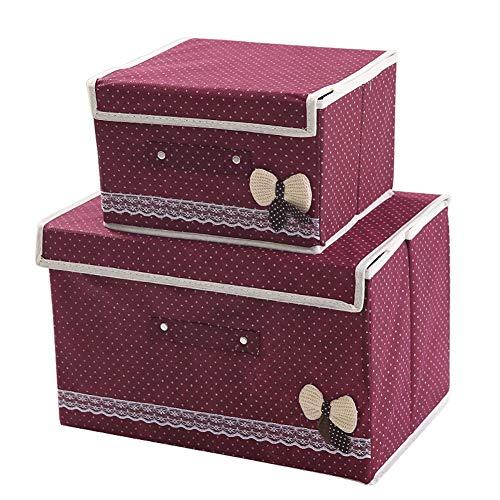 Box Faltbare Aufbewahrungsbox for Spielzeug Aufbewahrungsbox mit Deckeln, mehrfarbiger, 2 Stück (Color : Wine red)