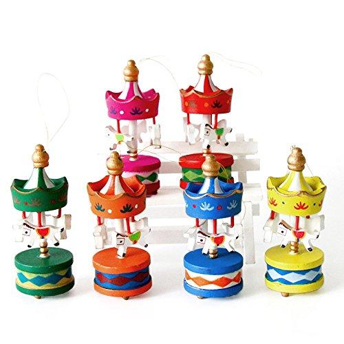lzndeal 6 Pcs Ornements de Noël Cadeau en Forme Carrousel Mini Pendentif en sapin de Noël Cadeau d'anniversaire Noël pour enfants