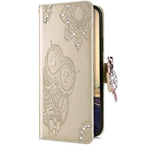 Uposao Compatible avec Coque iPhone XR Pochette Portefeuille en Cuir, Glitter Diamant Hibou Mandala Motif Coque à Rabat Magnetique PU Housse Etui de Protection Stand Flip Case,Or