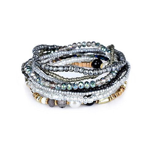 MengPa Beaded Stretchy Bracelets for Women Bohemian Crystal Colorful Multilayer Jewelry (Purple) G3207B