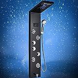 Saeuwtowy Panel Columna de Hidromasaje con Luces LED Panel de Ducha Hidromasaje Moderna Negro 5 Función con Pantalla LCD Columna Ducha Acero Inoxidable Para Baño con 4 Boquillas de Masaje