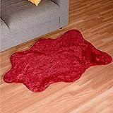 Dalina Textil Alfombra de Pelo de Conejo Decorativa Extra Suave para Salón, Habitación, Dormitorio, con diseño de Forma Irregular (60X90CM, Granate)