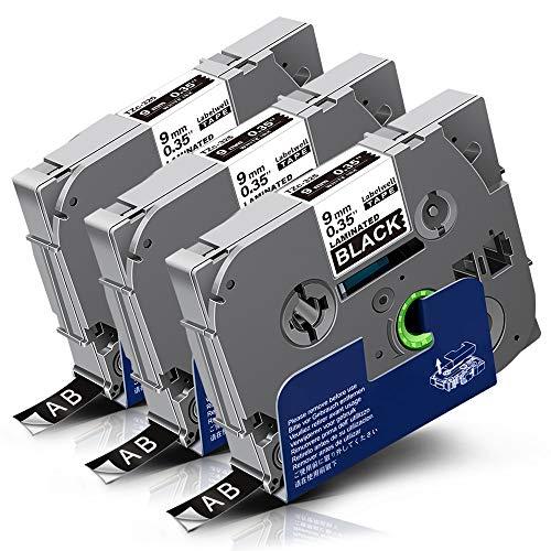 3x Labelwell TZc-325 9mm Weiß auf Schwarz Kompatibel Schriftband Ersatz für Brother Tz Tze-325 Tze325 für Brother P-touch Cube Plus PT-D210VP D600VP D400VP H107B P700 D200DW H105WB H105 H100LB P750W