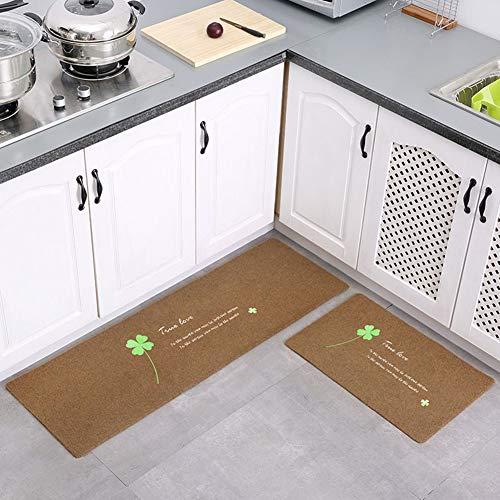 Lindong - Felpudo para puerta (antideslizante), varios diseños a elegir, polipropileno, Hojas de café., 40 x 120 cm