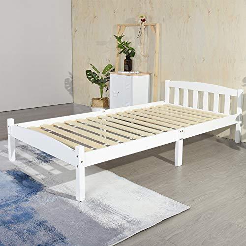 IPOTIUS Weiß Einzelbett Bettgestell Holzbett aus 100% Massivholz mit Kopfteil und Lattenrost, Kinderbett Jugendbett 90 x 190cm