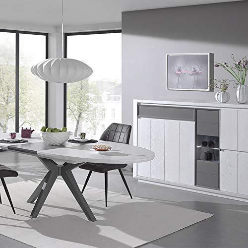 M-128 Esszimmer-Set, modernes Design, Holz, Weiß/Grau
