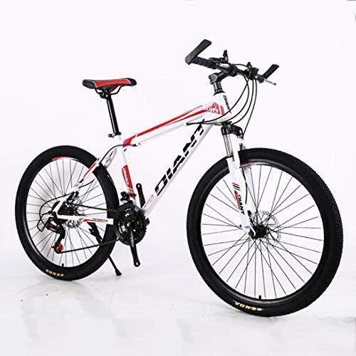 CHHD Bicicleta de montaña de Velocidad Variable 26/24 Pulgadas * 17 Pulgadas Bicicleta de Freno de Disco Doble de Acero de Alto Carbono, Rueda de radios 21 velocidades