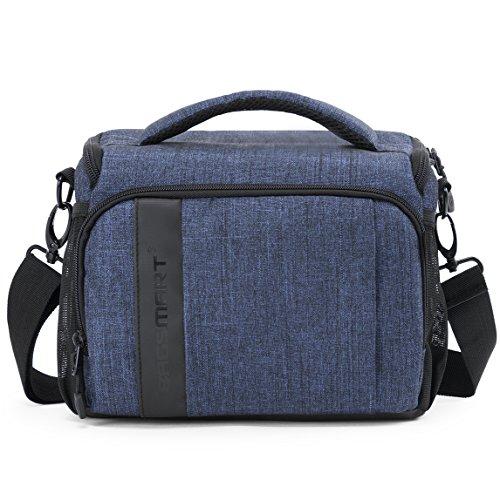 BAGSMART Compact Camera Bag Shoulder Bag for SLR/DSLR with Waterproof Rain Cover, Heather Blue