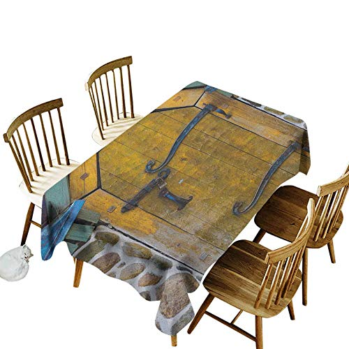 Rustic Durable Tablecloth Antique Style Door of a Stone House in The Countryside Entrance Architecture Vintage Indoor Outdoor Spring Summer Party Picnic Camping 54x108
