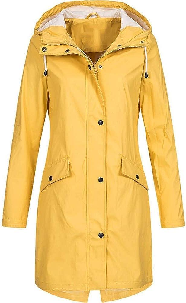 Kangma Womens Solid Plus Size Rain Jackets Waterproof with Hood Outdoor Sunscreen Pockets Raincoat