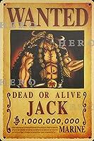 海賊アニメJACKジャック さびた錫のサインヴィンテージアルミニウムプラークアートポスター装飾面白い鉄の絵の個性安全標識警告バースクールカフェガレージの寝室に適しています