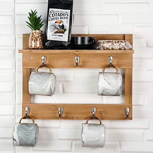 Soporte para tazas de pared con estante, soporte para taza de café, organizador de madera de bambú con 7 ganchos (bambú)