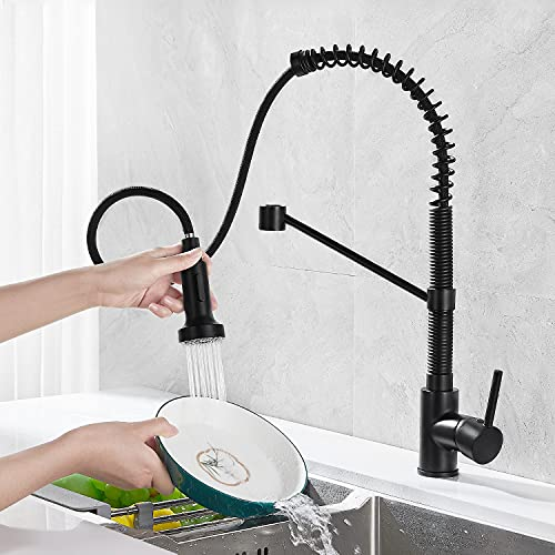 JTWEB - Grifo de cocina extensible, grifo de cocina con ducha, monomando, giratorio 360°, con muelle en espiral, color negro