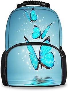 Mochila Mochila Escolar De Gran Capacidad para Mujer Mochila Azul De Animales De Mariposa 3D Mochila De Libro para Niñas Adolescentes Estudiante H2620