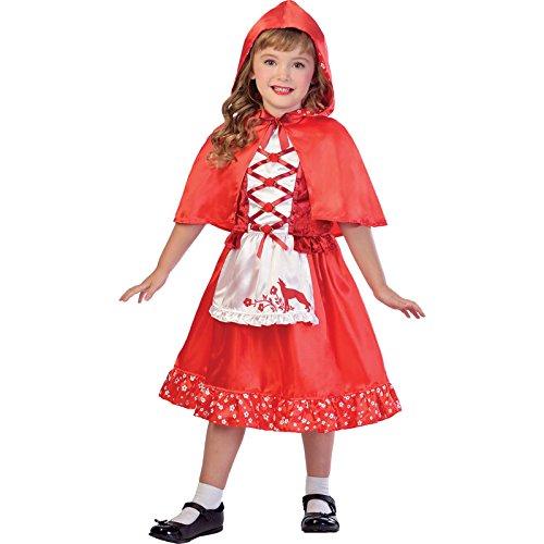 amscan 9903226 Disfraz de caperucita roja brillante con delantal adjunto, edad 9-10 años, 1 unidad