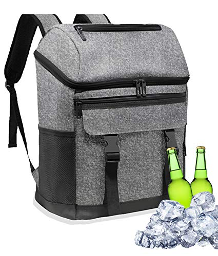 Leoh 25L Cooler Backpack. Large Insulated Cool Bag for Picnic, Camping, Beach, BBQ, Outdoor, Hiking. Leakproof Hot & Cold Rucksack. Thermal Baby Food Bottle Lunch Travel Bag.