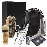 Kit de cuidado de barba para hombre, caja de regalo de afeitado, herramienta de 18 piezas, cepillo de cerdas y babero, tijeras, brochetas, afeitadora de barbero y bolsa de almacenamiento