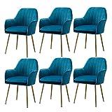 WYBW Silla de comedor para el hogar, sillón de ocio, silla de comedor de terciopelo con cojín acolchado para cocina, maquillaje, sala de estar, tienda, juego de 6 unidades, color azul