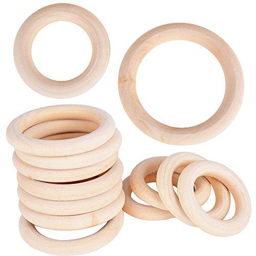 (5.5cm+7cm) 40 Stück Holzringe Natur Holz Ringe unbehandelt Glatt für DIY Anhänger Handwerk Schmuckherstellung Armband Anschluss
