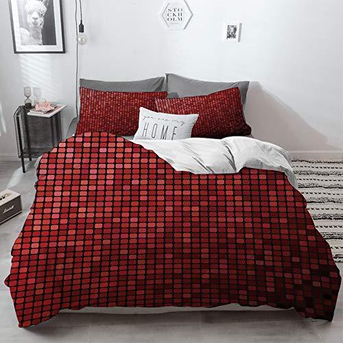 3 Piece Duvet Cover Set No Wrinkle Ultra Soft Bedding Set,Maroon,Abstract Mosaic Grid Ombre Pattern Pixels Digital Technology Themed Tile Decorat,2 pillowcase 50 x 75cm 1 Pc Bed sheet 200 x 200cm