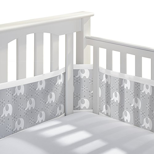 BreathableBaby Classic Breathable Mesh Crib Liner - Peaceful Elephant Gray