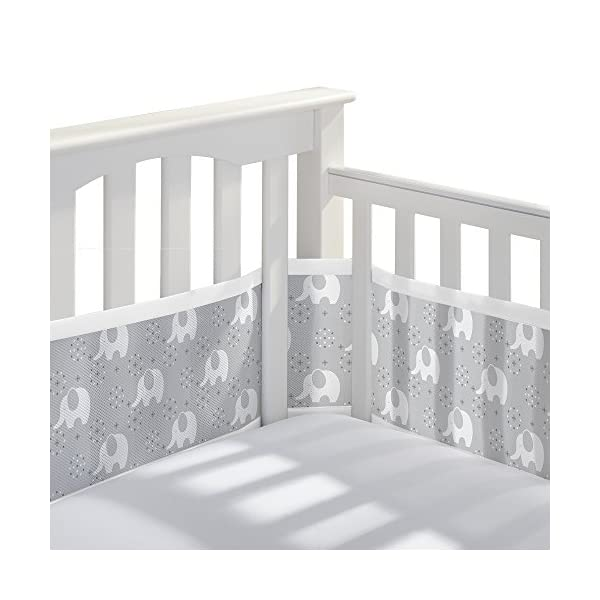BreathableBaby Classic Breathable Mesh Crib Liner – Peaceful Elephant Gray