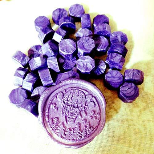 LIGH Fire Paint Seal Wachs kleine Tasche achteckige Fire Paint Seal Wachs 30 Farbe ca. 100 35g Fire Paint Seal + Deep Purple