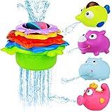 BBLIKE Badespielzeug Stapeln Tassen Spielzeug Gummiente Set mit Alphabet Buchstaben Zahl süß Geschenk für Baby, Kleinkind Jungen und Mädchen - ab 12 Monate (F)