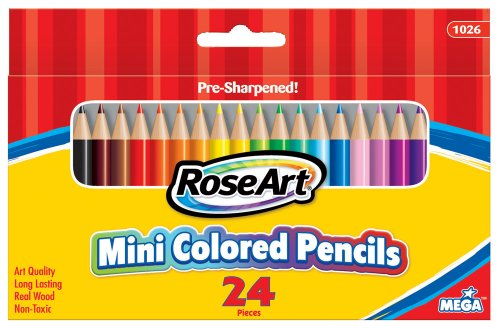 RoseArt 3.5-Inch Mini Colored Pencils Assorted Colors 24-Count Packaging May Vary (1026VA-48)