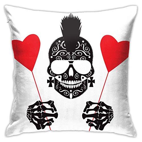 Lsjuee Throw Pillow Cover Fondo de San Valentín Punk Skull Icon Corazones Funda de cojín Decorativa Throw Pillow Fundas Protectores 45x45 cm