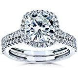 Kobelli Cushion Brilliant Moissanite Halo Bridal Wedding Rings Set 2 3/8 CTW 14k White Gold, 7
