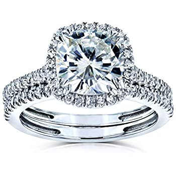 Kobelli Cushion Brilliant Moissanite Halo Bridal Wedding Rings Set 2 3/8 CTW 14k White Gold 7