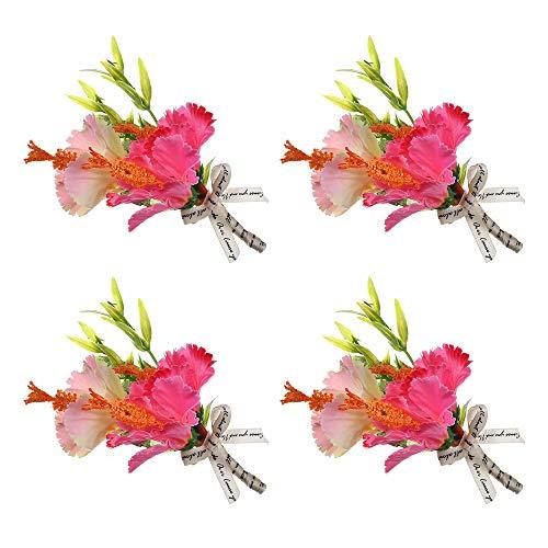 YGSAT 4 Stück Gästeanstecker Hochzeit Künstliche Rose Anstecker Hochzeit für Herren Hochzeit Anzug Bankett Partei