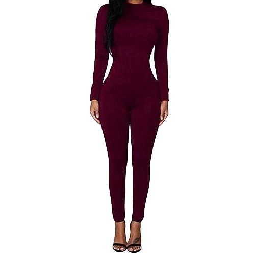 d29916ed7e4 VamJump Women Zipper Long Sleeve Mesh Splice See Through Bodycon Jumpsuit  Romper
