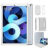 Tablet 10.1 Pulgadas Android 10 Quad Core 4G, Tablet Baratas con Teclado y Ratón 4GB RAM 64GB ROM/128GB Escalables DUODUOGO P8 Google GMS Tablet PC 8000mAh Doble SIM/Cámara WiFi Bluetooth GPS (Plata)