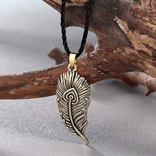 MZYSM Colgante de Plumas de pájaro de Fuego eslavo Collar de Plumas de Ave fénix en Forma de Hoja de Plata Antigua Collar de encantos nórdicos Joyas