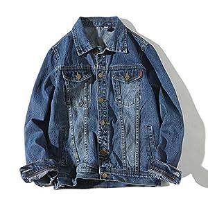 [Mirroryou]デニムジャケット メンズ ジーンズ Gジャン 春秋 スリム ダークブルー Mサイズ