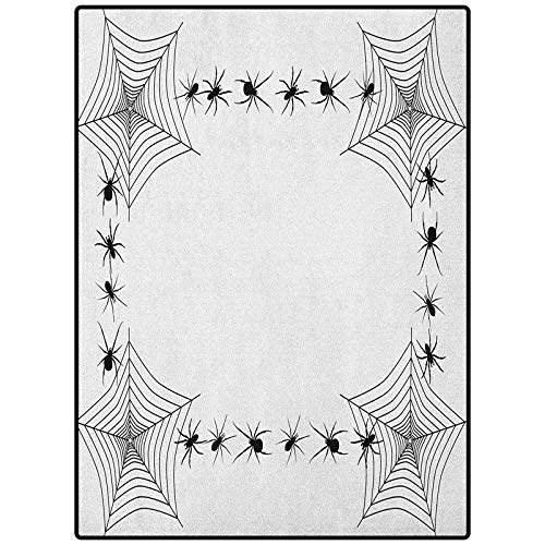 Spider Web Pattern Decorative Rug Carpets for Home, Nursery, Bed and Living Room Creepy Framework with Arachnid Venom Poison Trap Cartoon Style Monochrome Print Black White 36' x 60'