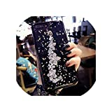 サムスンギャラクシーs7エッジs8 s9 s10プラス注8 9 10ファッションダイヤモンドローズ花ブレスレットキラキラ星ソフト電話ケースカバー,for galaxy s7,black