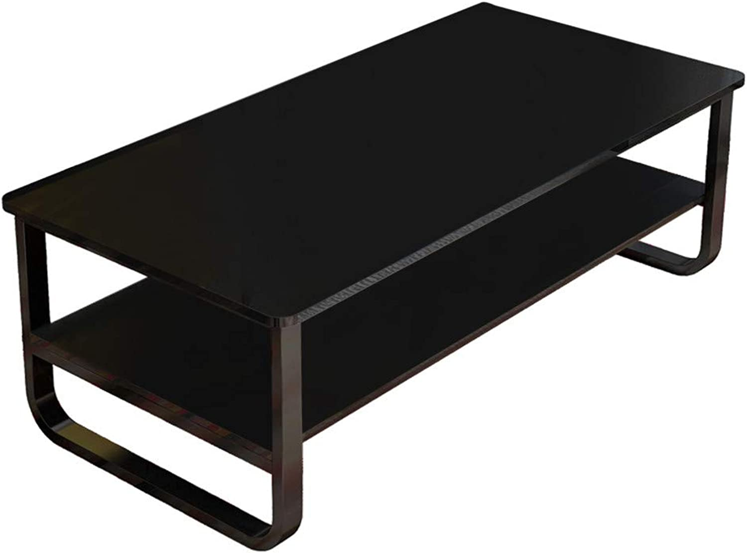 Simple Modern Living Room Double Rectangular Coffee Table 47×22.8Inch Black White - Ship from US