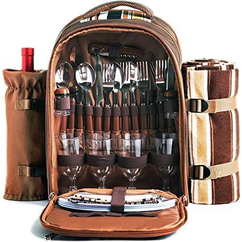 XLanY Picnic Backpack for 4 People, with Refrigerated Compartment Removable...