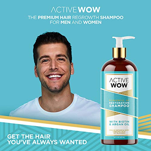 Active Wow Argan Oil & Organic Botanicals Anti Hair-Loss Shampoo - 16 Fluid Oz