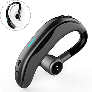 SLUB True Wireless Bluetooth Single Earbud with Microphone 17-18 Hours Playtime Noise Cancelling  Waterproof Ear-Hook Sport Headset for  Cell Phone (Gray)